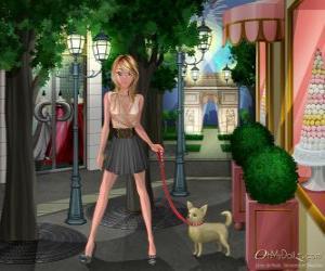Puzzle Oh My Dollz, promener le chien