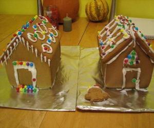 Puzzle Ornement de Noël douce et belle, deux maisons en pain d'épice