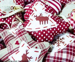 Puzzle Ornements de Noël, tissu