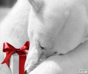 Puzzle Ours polaire avec un cadeau