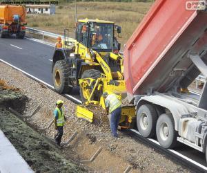 Puzzle Ouvriers travaillant sur une voie publique