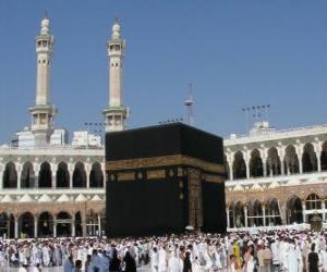 Puzzle Pèlerins musulmans à pied autour de la Kaaba, le bâtiment en forme de cube à La Mecque, en Arabie Saoudite