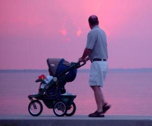 Puzzle Père marchant avec son fils à côté de la mer