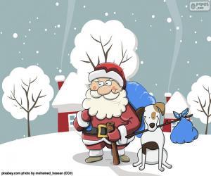 Puzzle Père Noël accompagné d'un chien