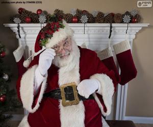 Puzzle Père Noël, cheminée