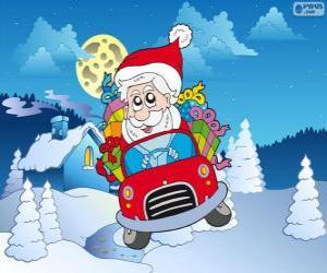 Puzzle Père Noël conduit une voiture