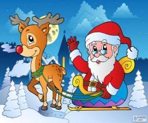Puzzle Père Noël en traîneau