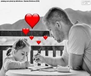 Puzzle Père peinture avec sa fille
