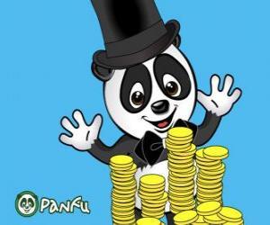Puzzle Panda très heureux à regarder des pièces de nombreux Panfu