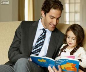 Puzzle Pape aidant la lecture à sa fille