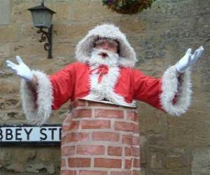 Puzzle Pape Noel avec des problèmes pour passer par la cheminée