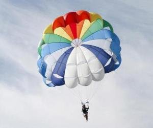 Puzzle Parachute à travers les nuages dans un parachute après avoir sauté d'un avion