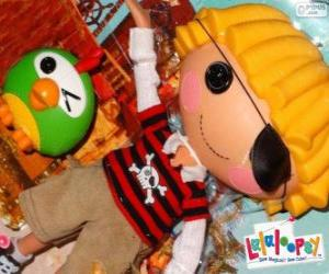 Puzzle Patch Treasurechest de Lalaloopsy avec son animal de compagnie, un perroquet