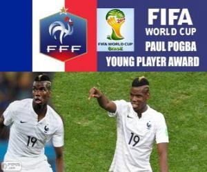 Puzzle Paul Pogba, trophée du Jeune Joueur. Coupe du monde Brésil 2014