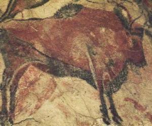 Puzzle Peinture rupestre en représentant un buffle dans la paroi d'une grotte