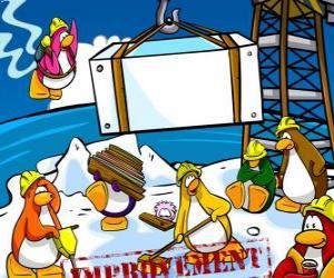 Puzzle Penguins de travail dans la construction dans le Club Penguin