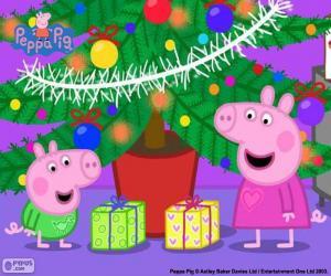 Puzzle Peppa Pig et George à Noël