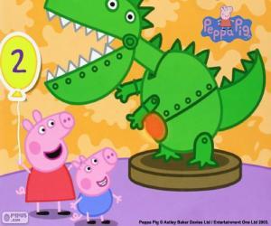 Puzzle Peppa Pig et le dinosaure