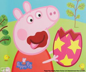 Puzzle Peppa Pig, manger un oeuf