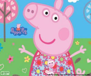 Puzzle Peppa Pig robe fleur