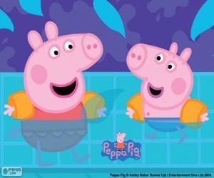 Puzzle Peppa Pig va à la piscine