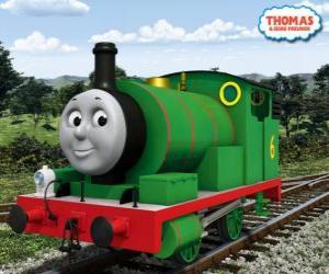 Puzzle Percy, le plus jeune locomotive, le vert et avec le numéro 6. Percy est le meilleur ami de Thomas