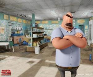Puzzle Père de Flint, Tim dans son magasin de pêche