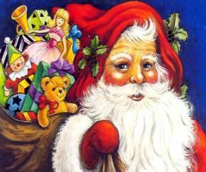 Puzzle Père Noël avec un grand sac plein de jouets à donner aux enfants à Noël