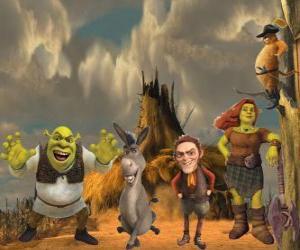 Puzzle Personnages, dans le dernier film Shrek 4 ou Shrek, il était une fin