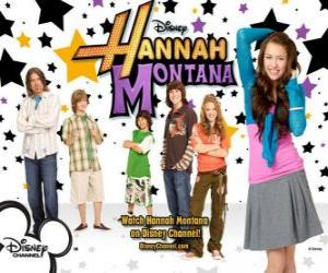 Puzzle Personnages principaux de Hannah Montana, Miley Ray Stewart, Lillian «Lilly» Truscott Oliver Oken, Rod Stewart Jackson, Robby Ray Stewart et Rico Suave