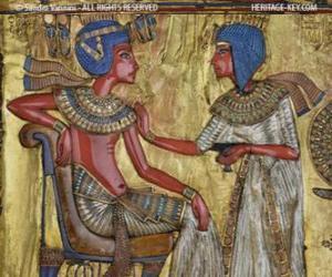 Puzzle Pharaon assis sur son trône, avec un sceptre nejej, sous la forme d'un fouet, dans la main