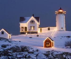 Puzzle Phare et le maison gardien de phare avec les décorations de Noël