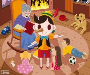 Puzzle Pinocchio. La marionnette en bois qui devient un enfant