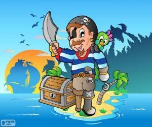 Puzzle Pirate avec coffre au trésor