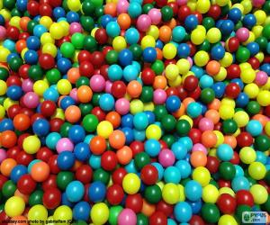 Puzzle Piscine de boules colorées