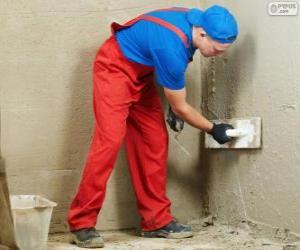 Puzzle Plâtrier travaille sur un revêtement de mur