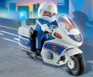 Puzzle Playmobil policier à moto