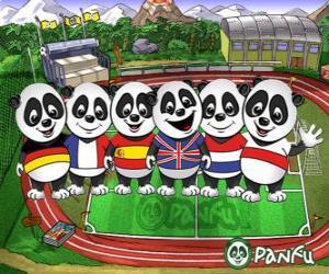 Puzzle Plusieurs Panfu panda T-shirts de certaines équipes nationales