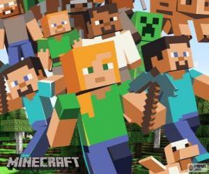 Puzzle Plusieurs personnages de Minecraft