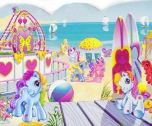 Puzzle Plusieurs petits poneys sur la plage. Mon petit poney