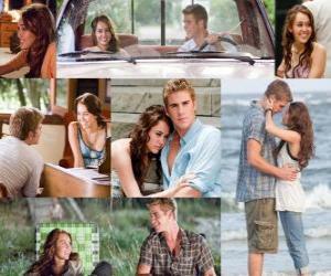 Puzzle Plusieurs photos de Miley Cyrus et Liam Hemsworth dans son dernier film, La dernière chanson.