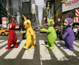 Puzzle Po, Laa-Laa, Dipsy et Tinky Winky, traverser une rue
