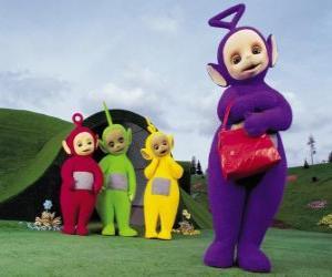 Puzzle Po, Laa-Laa, Dipsy et Tinky Winky, avec son sac rouge en façade de votre maison