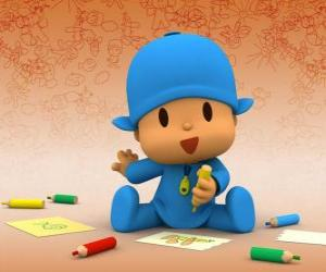 Puzzle Pocoyo assis sur le sol et faire un dessin sur une feuille de papier