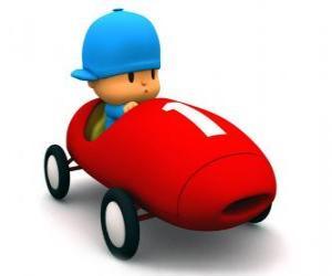 Puzzle Pocoyo de conduire une voiture de course