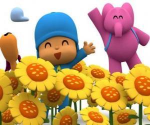 Puzzle Pocoyo et ses amis dans un champ de tournesols