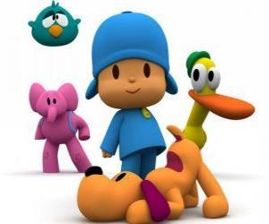 Puzzle Pocoyo et ses amis Pato, Elly, Loula et Dodoloiseau
