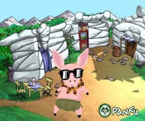 Puzzle Pokopet Tork, un cochon avec des lunettes de soleil, un animal de compagnie de Panfu