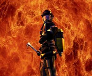 Puzzle Pompier en face du feu