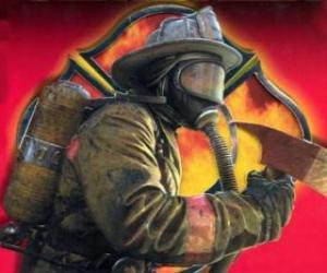 Puzzle Pompier sortant d'un bâtiment avec la hache à la main